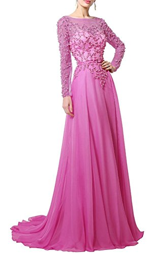 Fanciest Damen Lang Spitzen Mother of the Bride Abendkleider with Sleeves Coral Hot Pink