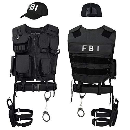 Black Snake SWAT FBI Police Security Kostüm inkl. Einsatzweste, Pistolenholster, Handschellen und Baseball Cap - XL/XXL - FBI