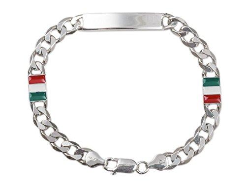 AKA Schmuck - ID Armband Herren aus 925 Sterling Silber Rhodiniert mit Italienische Flagge Tag (Herren-armband Italienische Silber)