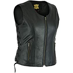 LeatherTeknik LV-6184 - Chaleco de piel para mujer con cordones laterales, color negro negro negro X-Large