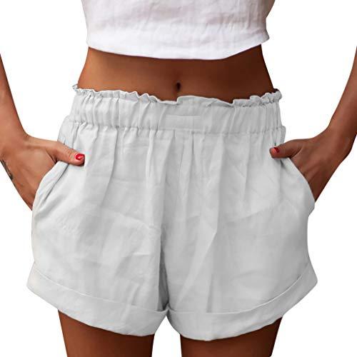 Shorts Damen Sommer Kurze Hosen Tunnelzug Elastische Stoffhose Solide Baumwolle Leinen Strand Shorts Mit Taschen Sport Shorts WQIANGHZI (Hosen Causal Damen)