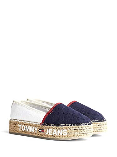 Tommy Jeans Surplus Mujeres Zapatos Alpargata White Navy Red - 39 EU