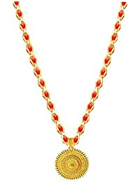 BFC- Golden Designer One Gram Gold Red Crystal Black Princess Diamond Chain Pendant for Women and Girls
