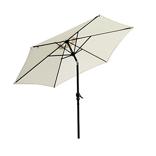 Outsunny ombrellone da giardino inclinabile spiaggia alluminio e poliestere Φ2.7×2.35m ombrellone da giardino e spiaggia inclinabile in alluminio e poliestere bianco Φ2.7×2.35m