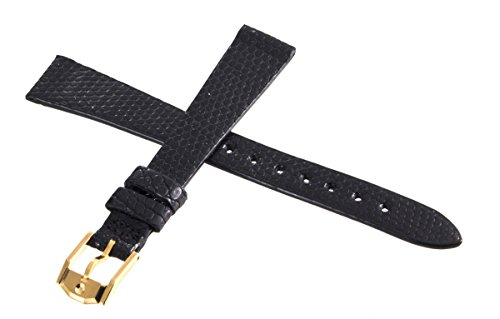 Movado schwarz echt leder Watch Band Gurt Schnalle Gold 14mm, 9023