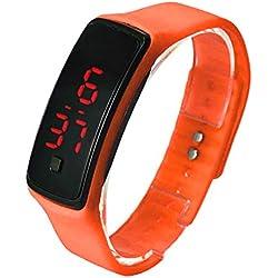 FEITONG Ultra Thin Sports Silicone Digital LED Wrist Watch Orange