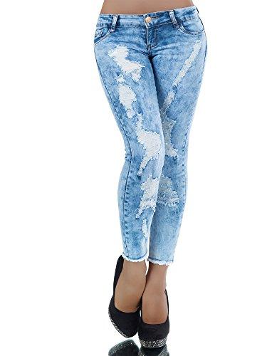L396 Damen Jeans Hose Hüfthose Damenjeans Hüftjeans Röhrenjeans Röhrenhose Röhre, Farben:Blau;Größen:38 (M) (Cord-skinny-jean)