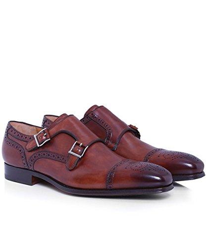 Magnanni Hommes Double Monk Strap chaussures en cuir Brun Brun