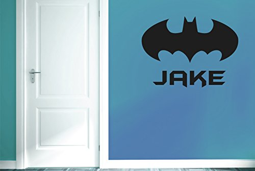 personalizado Batman Boys Room Sign Vinilo Pegatinas De Pared Decorativo - Gran (Alto 57cm x Ancho 77cm) Negro