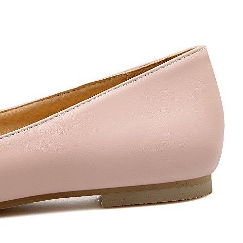 VogueZone009 Femme Couleur Unie Matière Souple Non Talon Tire Pointu Chaussures à Plat Rose