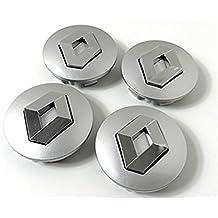 Set de 4 centros de tapacubos de Renault, llantas de aleación, 57 mm, gris cromo, cubierta con insignia (57 mm)