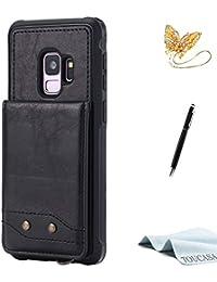 TOUCASA S9 Handyhülle,S9 Hülle, Brieftasche Flip PU Leder ledercaseHülle Kartenfächer [Handschlaufe] Messingknopf [3 Kartensteckplätze + 1 Fotosteckplätze] fürSamsung S9-(Schwarz)+StylusPen