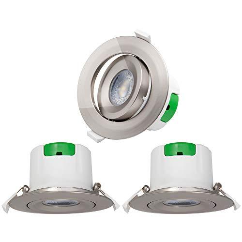 Lamparas Plafon Focos Downlight de LED Empotrables de Techo Giratorio Níquel Plástico...