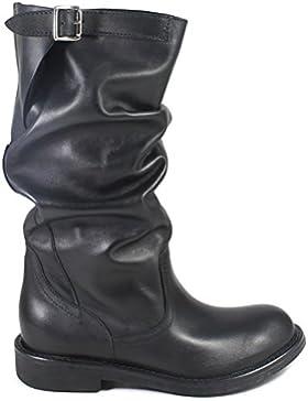 Personal Shoepper Stivali Biker Boots 0300 Donna Metà Polpaccio Vera Pelle Nero Arricciati Made in Italy