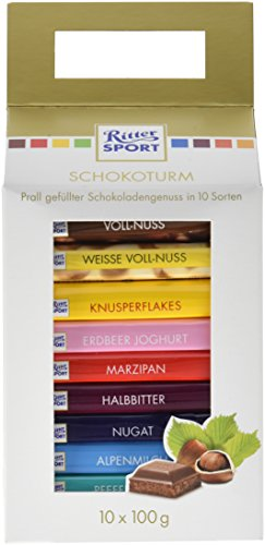 Ritter Sport Turm, Vollmilchschokolade, Halbbitter, weiße & Nussschokolade, Tafelschokolade in 10 verschiedenen Sorten, Schoko-Turm, (1 x 1 kg)