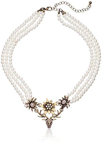 """Preisvergleich Produktbild SIX """"Oktoberfest"""" Damen Halskette, Statement Kette aus Perlen, goldenen Blumen, Geweih, Dirndl Kette, Wiesn (388-104)"""