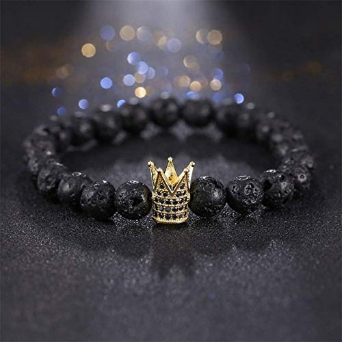 Armband Armreif,Schmuck Geschenk,Micro Pave Cubic Zirconia Imperial Crown Bracelets Brand Men Women Charm Black Lava Buddha Beads Bracelet Jewelry -