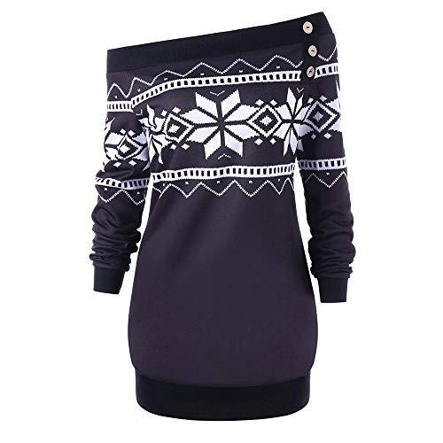 Huihong Damen Weihnachts Kostüm Skew Neck Schneeflocke Geometrische Druck Langarm Sweatshirt Pullover Tops Bluse (Lila, M/EU:36) (Plus Size Weihnachten Kostüme)
