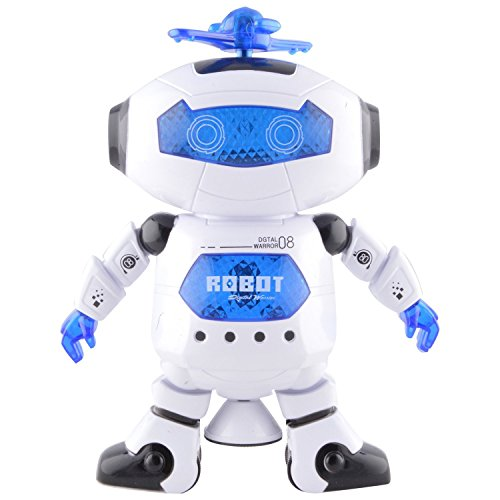 Tickles White Naugty Dancing Robot LED Light and Music Toy 22 cm AT-ET014