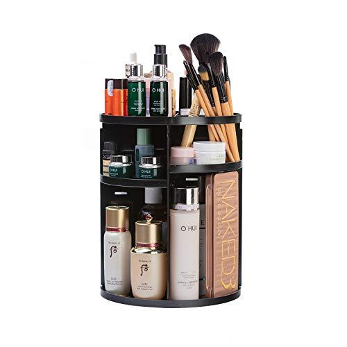 KVASS Schmink Aufbewahrung 360 Grad Drehbarer Beauty-Organizer mit Einstellbarer Lippenstift Pinsel Nagellack Kosmetikbox für Schlafzimmer, Badezimmer transparent ... (Schwarz)