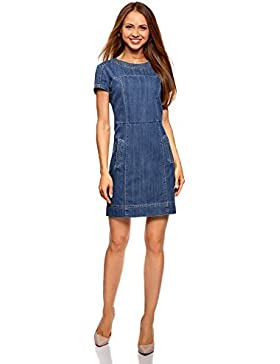 oodji Collection Damen Denim-Kleid mit Reißverschluss