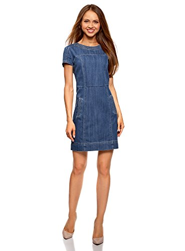 oodji Collection Damen Denim-Kleid mit Reißverschluss, Blau, DE 32 / EU 34 / XXS