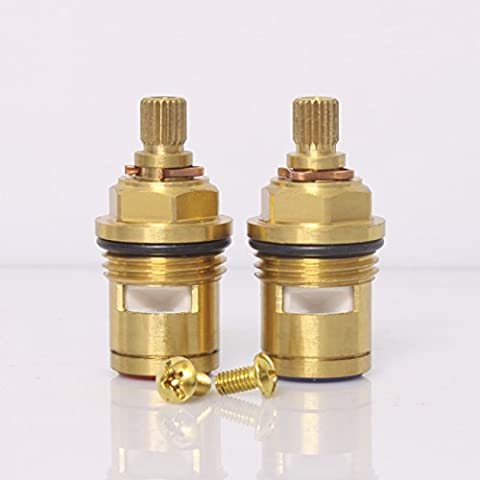 ownace de remplacement robinet de salle de bain 2Paire 1/246mm Cartouche à disques céramique Robinet mitigeur Valve Robinet Quart de tour