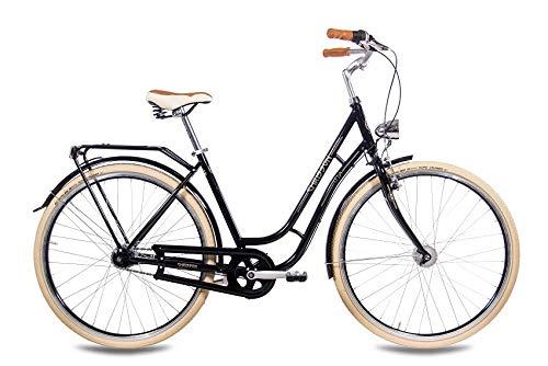 CHRISSON 28 Zoll Retro Citybike Damen - N Lady 7G schwarz - Damen-City-Fahrrad mit Shimano Nexus 7 Gang Nabenschaltung im Retro Design, Vintage Damenfahrrad mit Rücktrittbremse und Gepäckträger