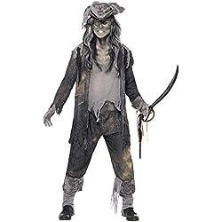 "Smiffy's Smiffys-21331L Halloween Disfraz de espíritu de Ghost Ship, con Chaqueta, pantalón y Sombrero, Color Gris, L - Tamaño 42""-44"" 21331L"