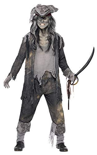 Smiffys Herren Geister-Pirat Kostüm, Mantel, Hose und Hut, Größe: XL, 21331