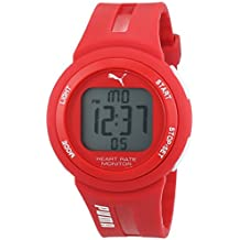 PUMA PULSE PLUS PU911101004 - Mouvement Digital - Affichage Digital - Bracelet PU Rouge et Cadran LCD - Mixte