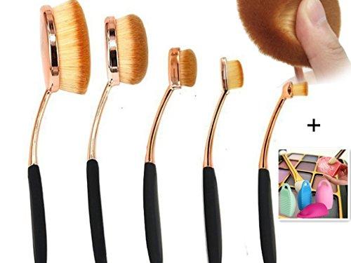 Neuf 5pcs or rose Set de pinceaux à maquillage professionnel visage pinceau cosmétique yeux Pinceau Pinceau à lèvres + Silicone Nettoyage Maquillage Balai-brosse Scrubber Cosmetic propre
