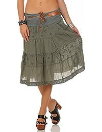 d5601efb51 ZARMEXX Falda del verano de la falda de algodón de las señoras decorativo  hasta la rodilla