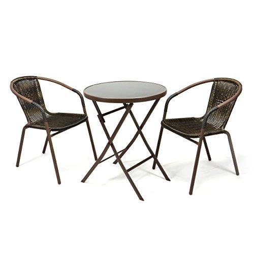 Set bistro 3 pièces Chaises et table de jardin en résine tressée Table pliante marron