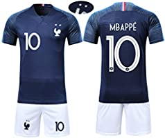 Silver Basic Ensemble de Sport Garçon T-Shirt Champion Enfant 2018 France Top et Short Sport Football