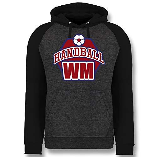 Shirtracer Handball WM 2019 - Handball WM 2019 - XL - Anthrazit meliert/Schwarz - JH009 - Baseball Hoodie