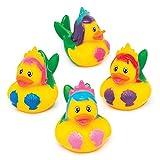Baker Ross - Anatre di gomma a forma di sirena, confezione da 4, perfette per il bagno dei bambini o per attività in acqua/piscina