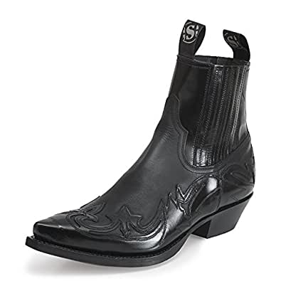 sendra 4660 cowboy ankle boots black patent leather
