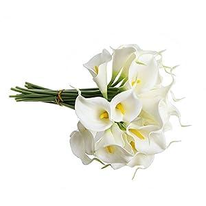 SODIAL(R) Ramo nupcial de la cala blanca con 10 flor latex del tacto real KC51 para la boda