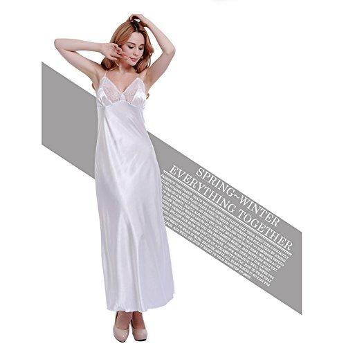 (ohne Marke) Spitze Kleid Seide Nachthemd lang Perspektive Sexy Kleid Farbe Halfter Schlafanzüge weiblich Unterstützung Home Innendekoration Sommer Kleidung [Parallel Eingang], Chiffon, weiß, Einheits weiß