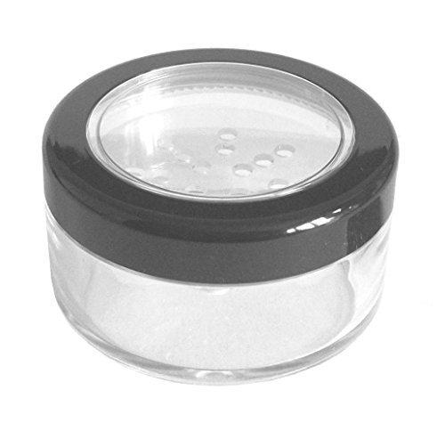 Gefäß mit Streueinsatz für Make-up/Creme/Glitzer, mit schwarz eingefasstem Deckel, Kunststoff, leer, 30 ml - Sifter Jars Wholesale