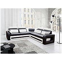 JUSTyou Bergamo Sofá esquinero chaise longue función de Cama Sofá-Cama Piel sintética Tamaño: 82x290x270 cm Blanco Negro Brazo dercho