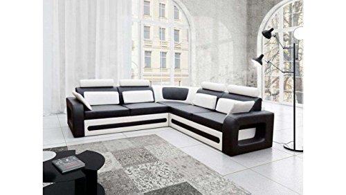 JUSTyou Bergamo Canapé d'angle Sofa canapé lit Simili Cuir (HxLxl): 82x290x270 cm Blanc Noir Angle Droit