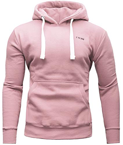 CRONE Carlo Basic Herren Fleece-Hoodie Kapuzenpullover aus 100% Baumwolle mit Logo (M, Rosa) -