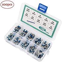 Jolicobo 100 Unids 10 Valores Conjunto de caja de resistencia ajustable azul y blanca Potenciómetro Kit surtido Resistor variable con caja de plástico