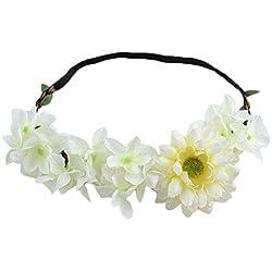 JUNGEN Diadema de flor para mujers guirnalda de flores con Margarita Elegante Floral corona para novias accesorios disfraces para fiestas (Beige)