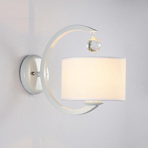 Wandleuchten -Kristallwand-Licht-moderne einfache LED-Schlafzimmer-Nachttischlampen, stilvoll entworfene Treppen-Gang-Beleuchtung, Metalltuch-Weiß-Hauptdekor-sichelförmige Wand-Lampe, Durchmesser 7.09 in * hohem 10.24 in 1 PC