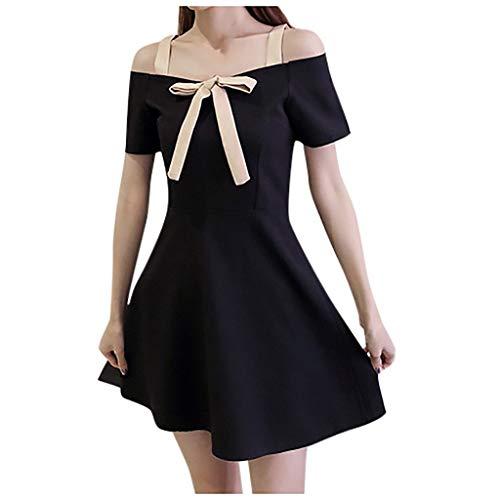 OMYGOA ❤Summer Fashion Damen One Shoulder Kurzarm knielangen Sweet Bow Kleid(Schwarz,M) - Uhr Frauen Burberry