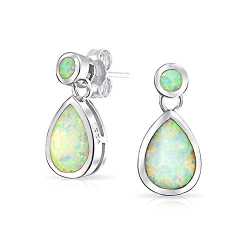 Bling Jewelry Synthetische weiß Opal Teardrop Oktober Birthstone Ohrhänger Silber 925 (Teardrop Gesicht)
