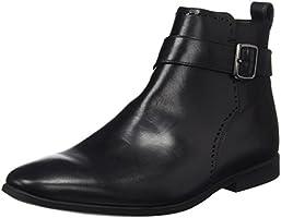 Clarks Men's Bampton Mid Chelsea Boots, Black (Black Leather), 9.5 UK